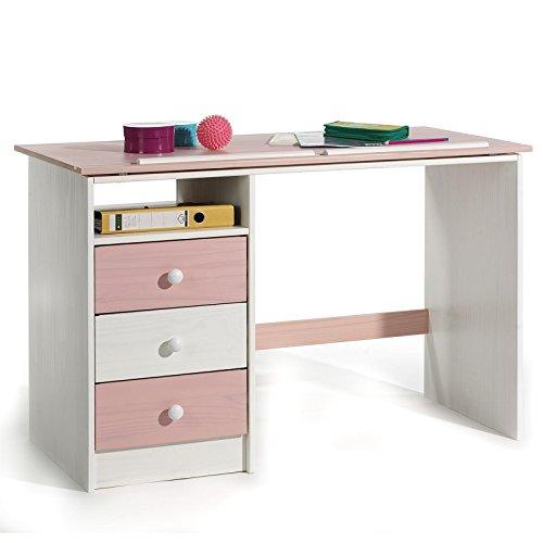 Achat IDIMEX Bureau enfant écolier junior KEVIN pupitre inclinable avec 3 tiroirs 1 casier en pin massif lasuré blanc et rose