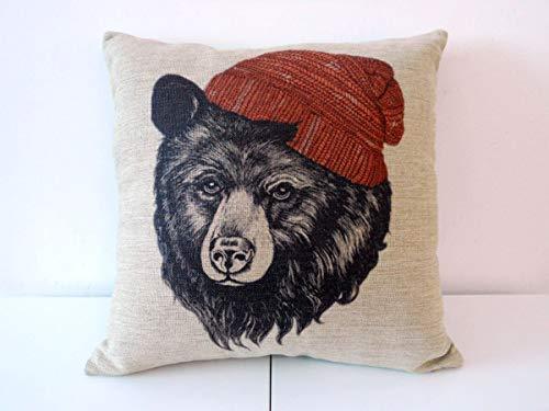 funny cat Baumwolle Leinen Platz Dekokissen Fall Dekorative Kissenbezug Kissenbezug für Sofa Tier Black Bear Wear Hut, 45X45 cm
