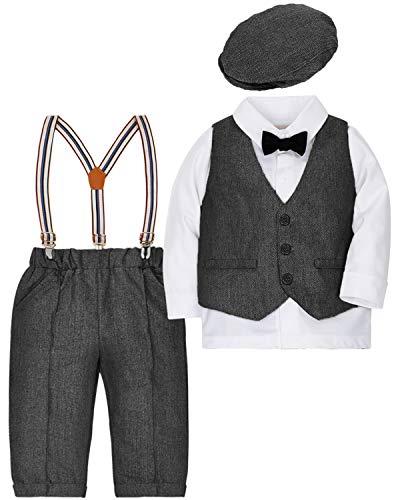 CARETOO 4tlg Baby-Jungen Bekleidungssets Strampler Taufkleidung Anzug Set Langarm+Hemd+Hose+Weste+Hut Fliege Krawatte Kleinkind Gentleman Baumwolle -
