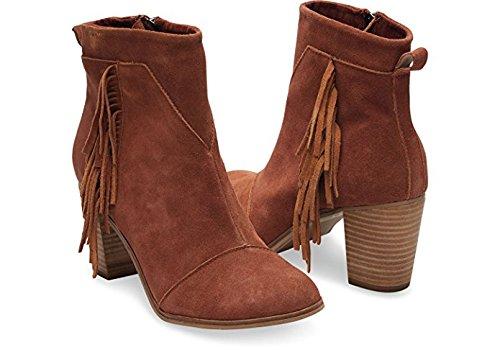 TOMS Women's Lunata Boot (7.5 B(M) US / 38 EUR, Cognac Suede/Fringe)