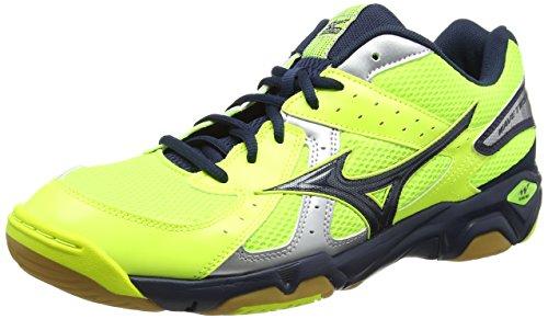 Mizuno Wave Twister 4, Herren Volleyballschuhe, Mehrfarbig (Neon Yellow/Dress Blues/Silver), 44 EU...