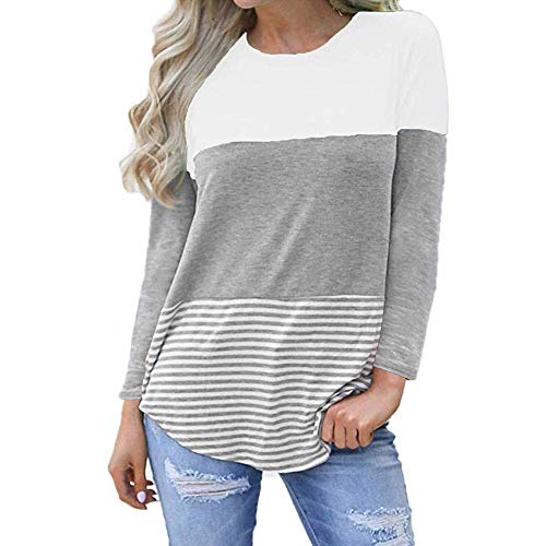 MRULIC Frauen Kurzarm Dreifach Farbe Block Streifen T-Shirt Casual Bluse Damen Shirt Weisse Bluse(A1-Weiß,EU-40/CN-L - Langarm-wrap Cardigan