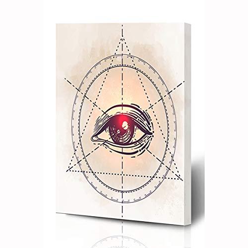 Ahawoso Impression sur Toile 30,5 x 40,6 cm Théorie des Yeux Providence  Maçonnique All Seeing World Conspiracy Society Secret Triangle Illuminati