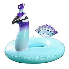 Idea Regalo - Cebelle Piscina Gonfiabile Galleggiante per bambini / adulti di peso inferiore a 75 kg, anello di nuotata Giochi d'acqua Giochi estivi di nuoto all'aperto Pavone