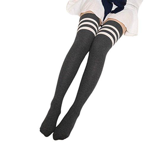 Damen Mädchen Kniestrümpfe,Strümpfe Damen Frauen über Knie-Lange Socken, KIMODO 1Pair Frauen Winter strickte über Knie Lange Stiefel Oberschenkel-hohe warme Socken Leggings (Grau)