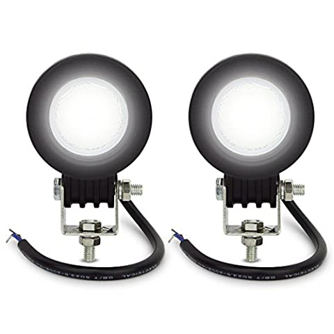 Safego 2x 10W LED Lampes de travail Lampes de brouillard Flood Astigmatisme LED Véhicule Phare BAR pour Tout-terrain Chantier Jeep SUV ATV camions Remorque hors route Off-Road Bateau camions de pompiers