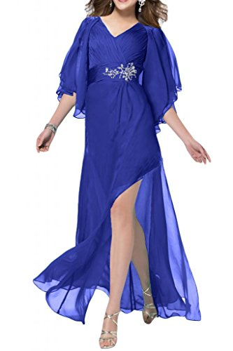 Sunvary Romantisch Neu 2015 Chiffon Lang Applikation Arm Abendkleid Ballkleid Royalblau
