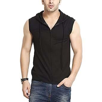 Gritstones Men'S Hooded Cotton Zipper Jacket-GS60217JKTBLK-S