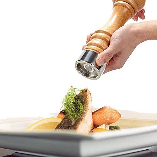 Holz Salz Mühle Pfeffermühle Manuell Gewürzmühlen Cayenne Pfeffer Pulver Mühlen Mahlwerk SalzMühlen Shaker Set Keramik Mahlkern Outdoor-Grill-Gadgets (Cayenne-pfeffer Salz)