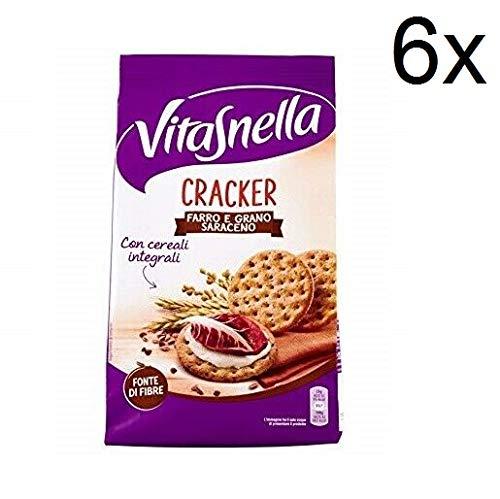 6x Vitasnella Cracker Farro e Grano saraceno Dinkel und Buchweizen kekse 200g