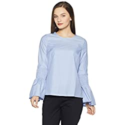 VERO MODA Women's Body Blouse Top (10192725_Light Blue_X-Large)