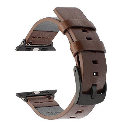 Poliertes Kalbsleder (Für Apple Watch 42mm Band, TRUMiRR echtes fettiges Leder Armband Stahl Wölbung Handgelenk Armband für iWatch Series 3, Series 2, Series 1 (erweiterte Adapter, keine weiteren Schrauben))