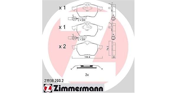 ZIMMERMANN 21938.200.2/Serie Bremsbelagsatz Hinten mit Vorbereitung Sensoren inklusive Platte d/ämpfend