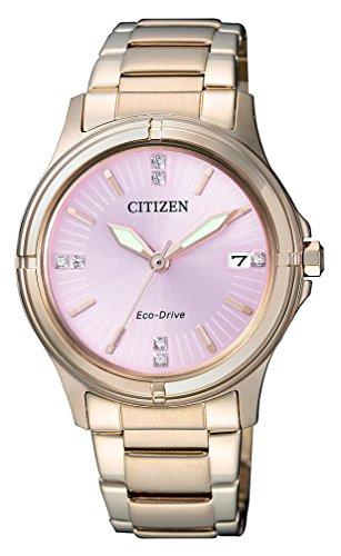 Uhr Citizen Damen Eco-drive (Citizen Damen-Armbanduhr Analog Quarz Edelstahl beschichtet FE6053-57W)