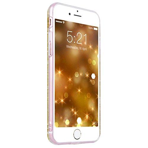 WE LOVE CASE iPhone 6 Plus / 6s Plus Hülle Weich Silikon iPhone 6 Plus 6s Plus Schutzhülle Handyhülle Im Glitzern Funkeln Bling Sparkle Diamant Golden Muster Handytasche Cover Case Etui Soft TPU Handy Golden