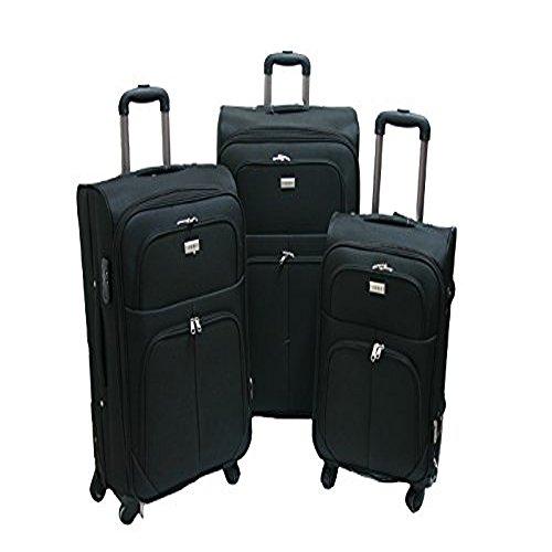 Trolley valigia set valigie semirigide set bagagli in tessuto super leggeri 4 ruote piroettanti trolley piccolo adatto per cabina con compagnie lowcost art so1/ nero