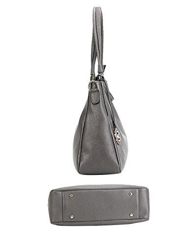 Menschwear Damen Echtes Leder Handtasche Elegant Taschen Schwarz Grau