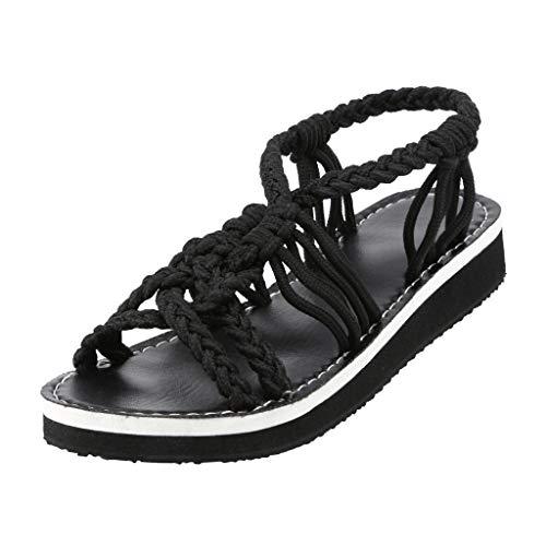 LILIHOT Frauen Sandalen gewebt Seil Knoten Füße Strand Schuhe lässig Rom Strand cool Schuhe Hanfseil Flip Flip Flops Sandalen Sommer Mode Strand Hausschuhe böhmischen, flachen Sandalen