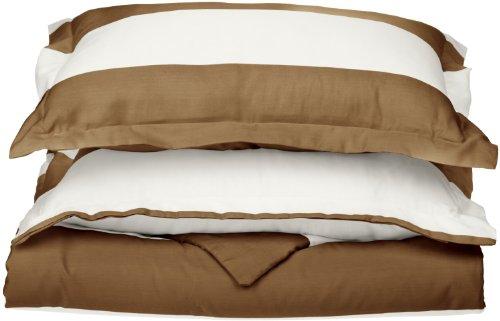 Impressions Superior - Weiches, knitterfestes Bettbezugsset mit Cabana-Streifen, 269 x 234 cm, Fadenzahl 600, Baumwollmischung, Graubraun, 3-teilig. -