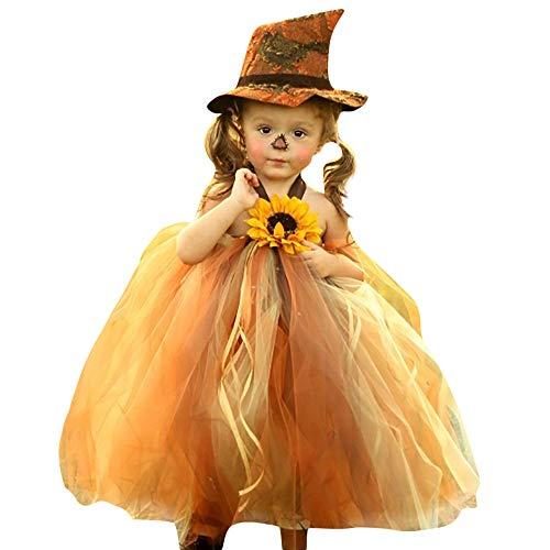 Kleinkind Sonnenblumen Kostüm - Battnot Halloween Kostüm für Mädchen Kleinkind Baby Kinder Cosplay Halloween Sonnenblume Tüll Tutu Prinzessin Hexenkleid Outfits Set, Halloween Ausstattungen Party Kleidung 12 18 24 Monate 3 Jahre