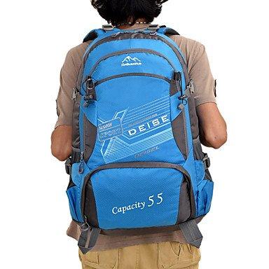 55 L Rucksack Camping & Wandern Reisen tragbar Atmungsaktiv Feuchtigkeitsundurchlässig Blue