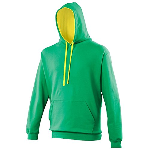 Varsity hoodie Burgundy-Gold AWDis Hoods Streetwear Felpa Cappuccio Uomo Kelly Green / Sun Yellow