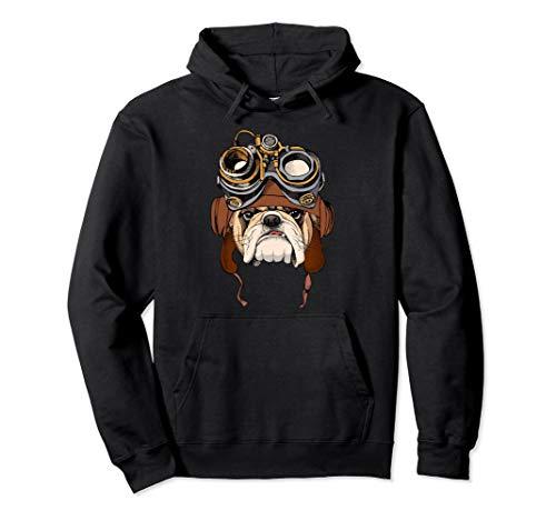 Lustige BullDog Wearing Steampunk Pilotenhelm Pullover Hoodie (Englisch Bulldog Hoodie)