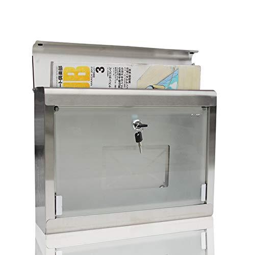 Royala Wasserdichte Briefkasten Edelstahl Briefkasten mit 2 Schlüsseln Enthalten Glas Briefkasten Für Garten Im Freien - 4