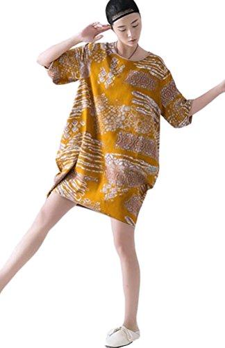 Voguees Women's Floral Printed Loose Knee Dress Jaune