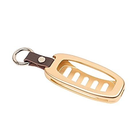 [M. jvisun] l'entrée sans clé Clé de Voiture Coque de protection Hollow Out Housse pour Audi A4L A6L A5A7A8S5S6S7S8RS5RS7Q5échelle internationale, etc., aluminium aéronautique de haute qualité en cuir véritable + Clé chaîne, doré