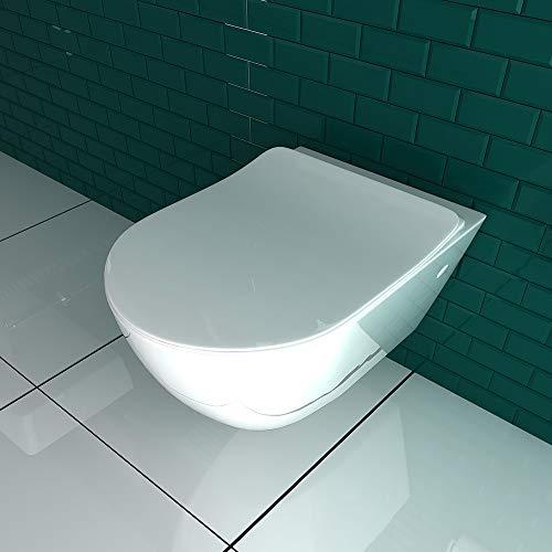 Keramik Wand WC Spülrandlos Hänge WC mit Nanobeschichtung Toilette WC-Sitz aus Duroplast mit Softclose Absenkautomatik passend zu GEBERIT Weiß WC - 6