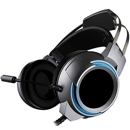 Mvlike E-Sports Gaming Headset, 50-mm-Surround-Soundeinheit Jedi Survival 7.1-Kanal-Hören-Voice auf dem Kopf (Farbe : Grau)
