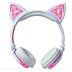 Auriculares de Oído de Gato con la Luz del LED y MicrÓFono,Plegable Headphones con Cable Compatible para TelÉFono Inteligente, Ordenador, MP3 (Rosa)