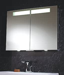 Aluminium Mirror Double Bathroom Cabinet With Led Down