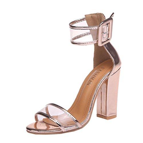 Damen Sandalen, Dasongff Damen High Heel Sandaletten mit Blockabsatz Knöchelriemchen Sandalen Plattformen Schuhe Schnalle High Heels Abendschuhe Partyschuhe (CN:43=EU:42, Gold) (High Heel Mid-plattform Schwarze)
