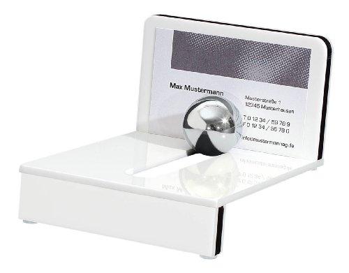Wedo 601400 Acryl Visitenkartenhalter Montego (mit Stahlkugel) weiß/schwarz
