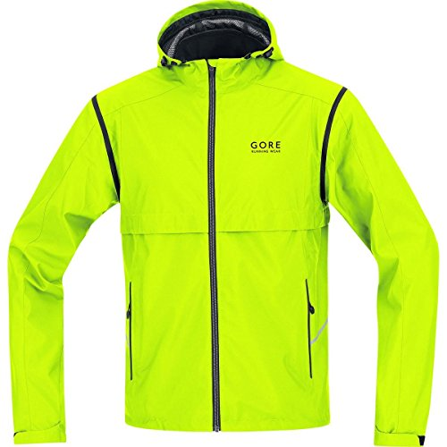 GORE RUNNING WEAR 2 in 1 Herren Laufjacke, Abnehmbare Ärmel, GORE WINDSTOPPER, ESSENTIAL WS AS Zip-Off Jacket, Größe L, Neongelb, JWESSO