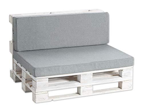 Coussins pour palettes, siège, appui, mousse, lisse Set (Siège 120x80 + Appui 120x40, Gris)