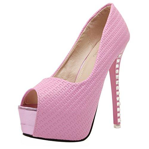 UH Femmes Escarpins Peep Toe Super High Heel de 14CM avec Plateforme et Strass pour Partie et Travaille Rose