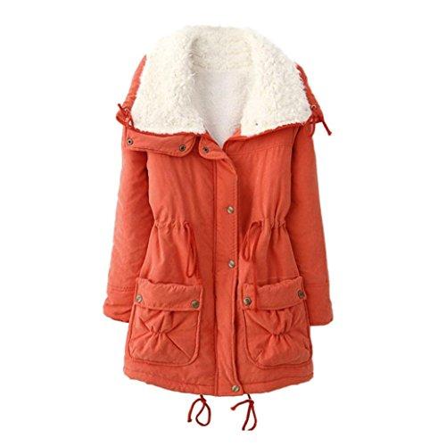 Uface - parka invernale da donna, con cappuccio e colletto in pelliccia, taglia xl, colore: arancione