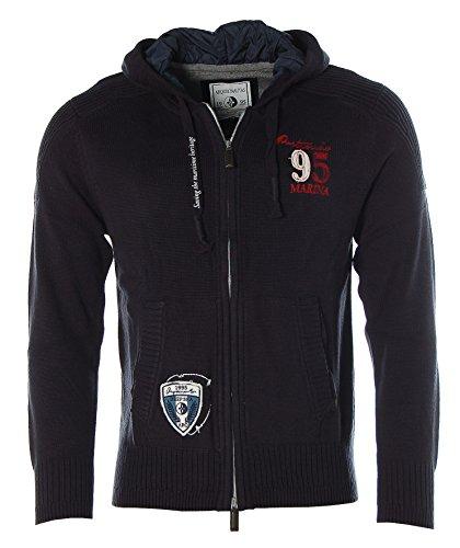 ARQUEONAUTAS Strickjacke Strick Jacke mit Kapuze Deep Sea Marina Navy L Oval Logo Sweatshirt