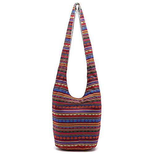 Artone Ethnic Canvas Casual Tote Crossbody Tracolla Tramp Tote Bag Borsa Blue Burgundy Ethnic Stripe
