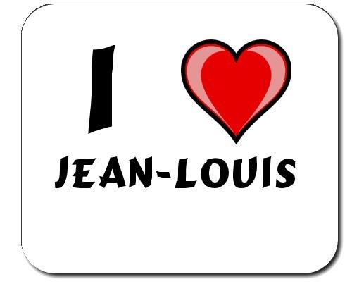 Tapis de souris avec une inscription: J'aime Jean-Louis (Noms/Prénoms)
