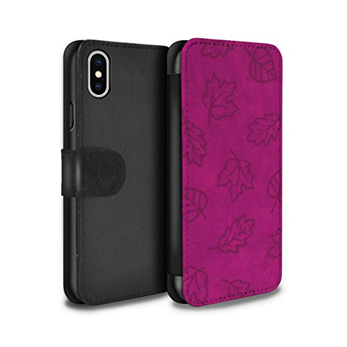 Stuff4 Coque/Etui/Housse Cuir PU Case/Cover pour Apple iPhone X/10 / 7 Pack Design / Motif Feuille/Effet Textile Collection Rose