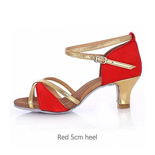 YFF La sala da ballo latino scarpe da ballo donna Tango Salsa donna femmina red 5cm heel