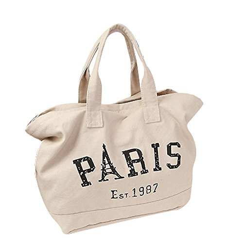 Ecokaki(TM) Fashion Letter Canvas Large Capacity Shoulder Bags Handbag Ladies Totes Vintage Hobo Purse, Beige by Ecokaki - Fashion Hobo Tote
