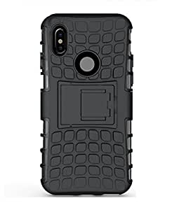 Mi Xiaomi Redmi Note 5 Pro Dual Layer Tough Rugged Shockproof Hybrid Warrior Armor with Kickstand(Black)