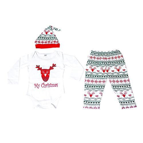 Lee Little Angel Männer und Frauen Baby Weihnachten Deer Jumpsuit Klettern Kostüm Langarm-Hosen dreiteilige Set (12-18 Monate, 1-weiß)