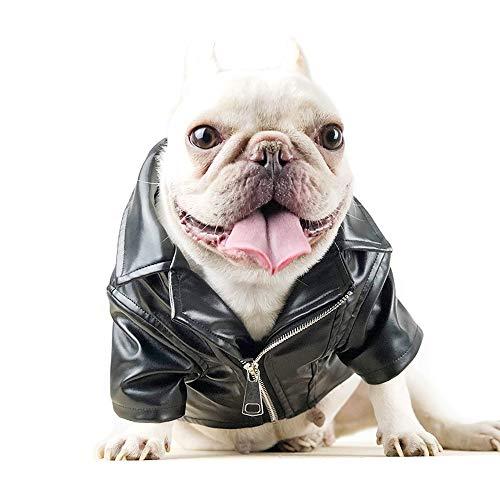 Amakunft Leder-Hundemantel, schwarz, Motorrad-Jacke für Kleine Hunde Haustier Welpen Lokomotive Mantel Winterkleidung für kalte Wetter Hund Warme Kleidung