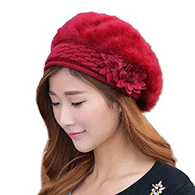 iSweven Wine Red Wooven Women's Beanie (1058B_Free Size)